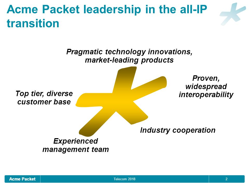 Acme Packet 2 Acme Packet leadership in the all-IP transition Pragmatic technology innovations, market-leading products Experienced management team Proven, widespread interoperability Industry cooperation Top tier, diverse customer base Telecom 2018
