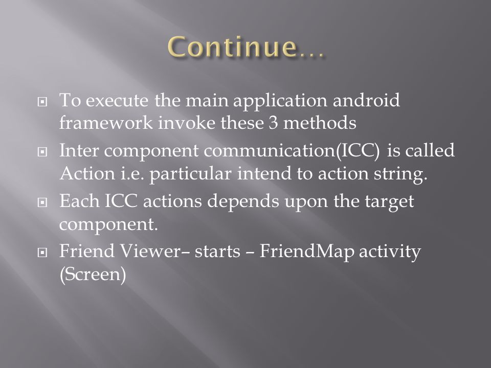  To execute the main application android framework invoke these 3 methods  Inter component communication(ICC) is called Action i.e. particular inten