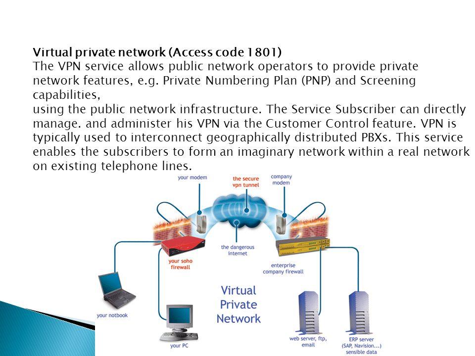 Virtual private network (Access code 1801) The VPN service allows public network operators to provide private network features, e.g.