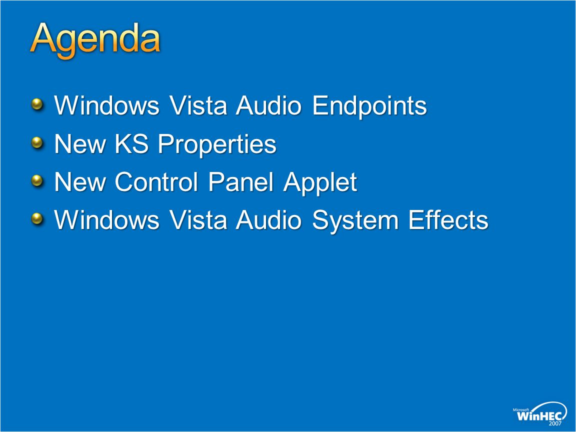 Windows Vista Audio Endpoints New KS Properties New Control Panel Applet Windows Vista Audio System Effects
