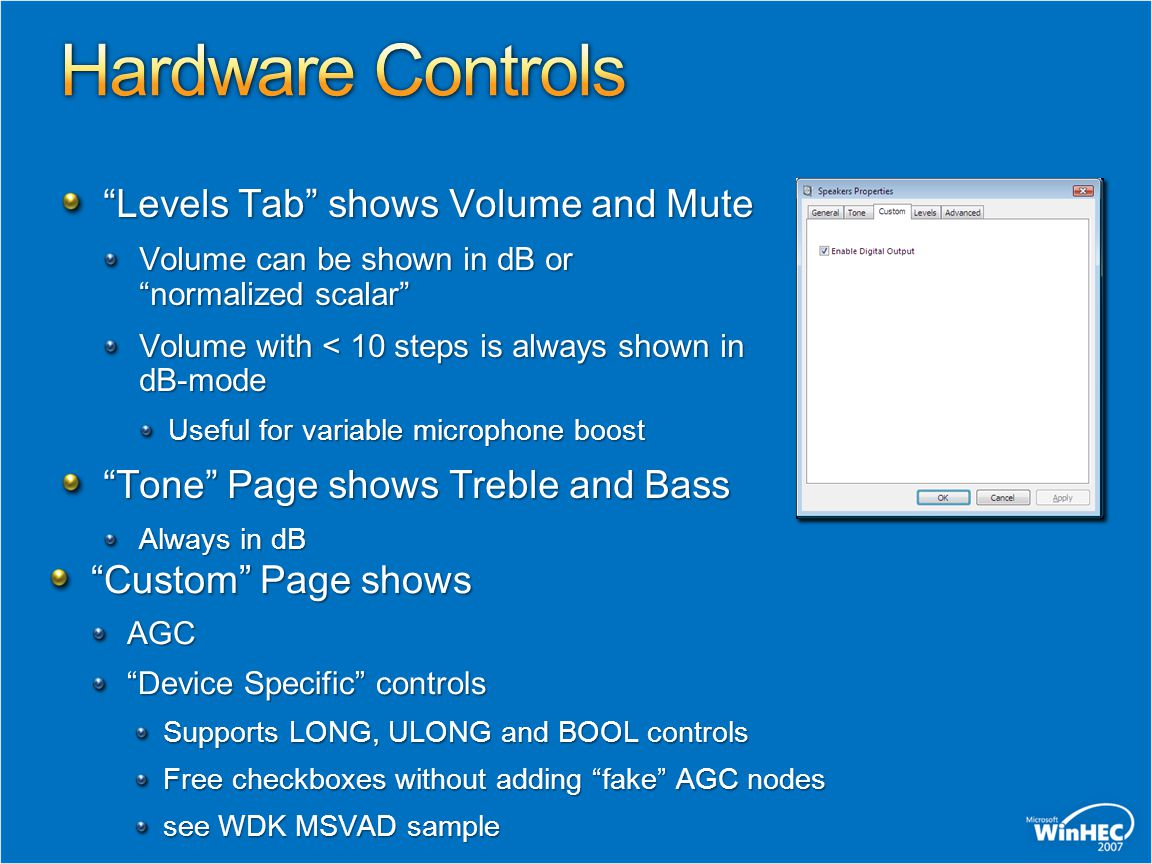 """Levels Tab"" shows Volume and Mute Volume can be shown in dB or ""normalized scalar"" Volume with < 10 steps is always shown in dB-mode Useful for varia"