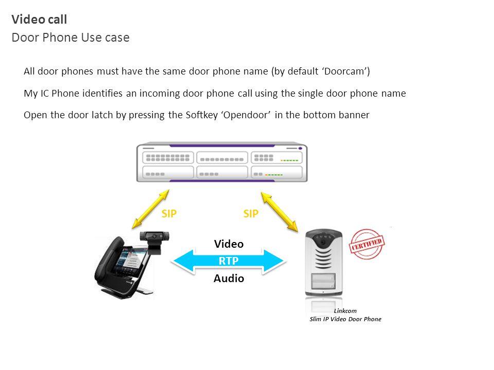 Video call Door Phone Use case All door phones must have the same door phone name (by default 'Doorcam') My IC Phone identifies an incoming door phone