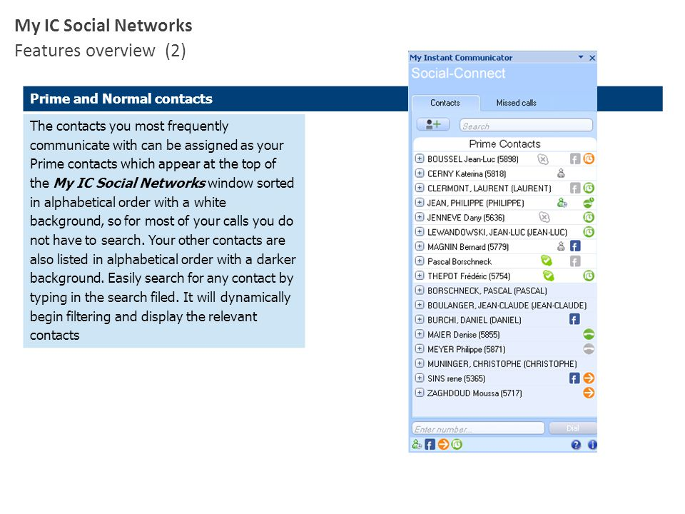 Prime and Normal contacts The contacts you most frequently communicate with can be assigned as your Prime contacts which appear at the top of the My I
