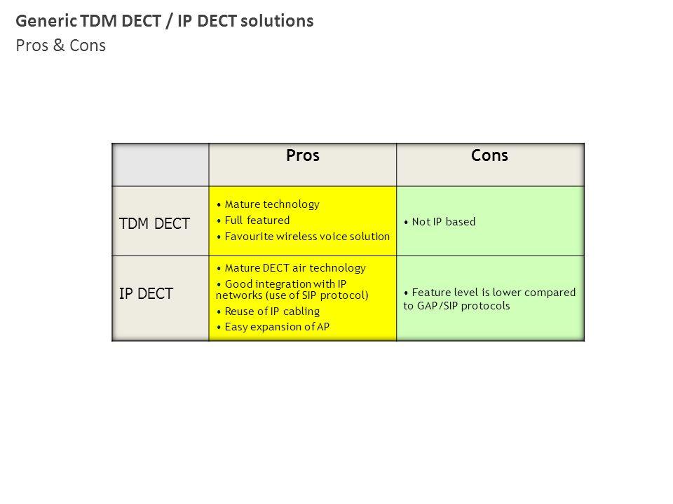 Generic TDM DECT / IP DECT solutions Pros & Cons