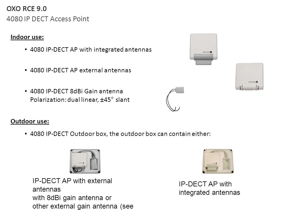 Indoor use: 4080 IP-DECT AP with integrated antennas 4080 IP-DECT AP external antennas 4080 IP-DECT 8dBi Gain antenna Polarization: dual linear, ±45°
