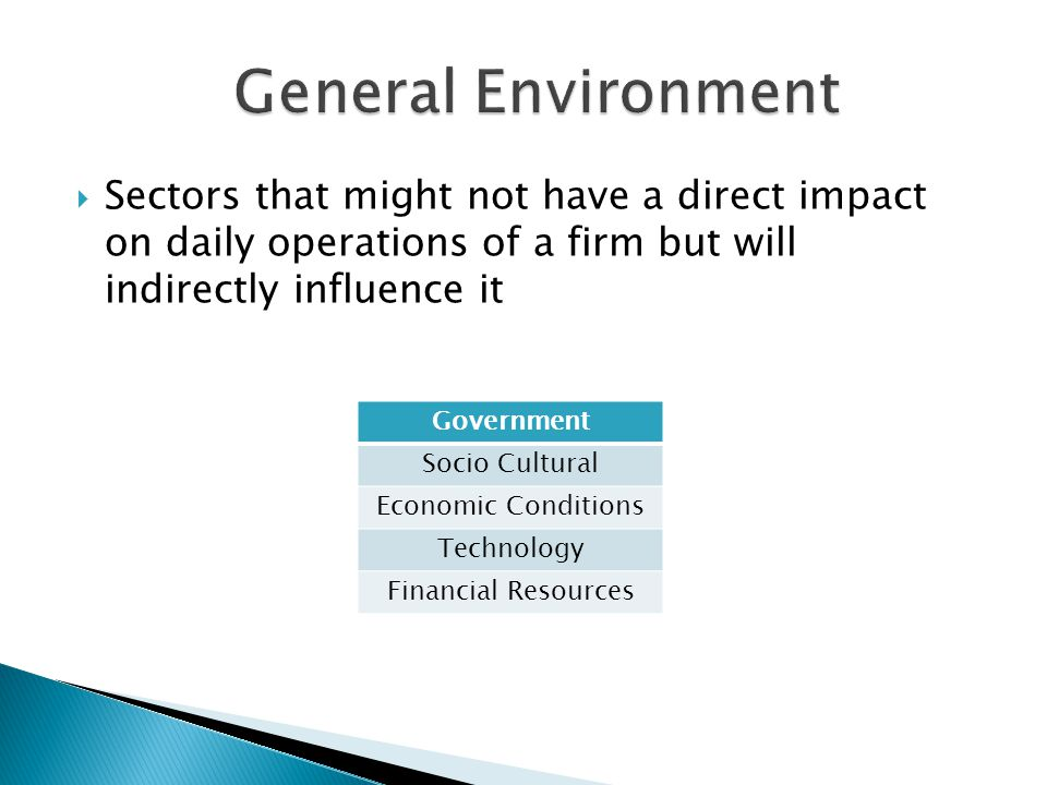  Sectors that might not have a direct impact on daily operations of a firm but will indirectly influence it Government Socio Cultural Economic Conditions Technology Financial Resources