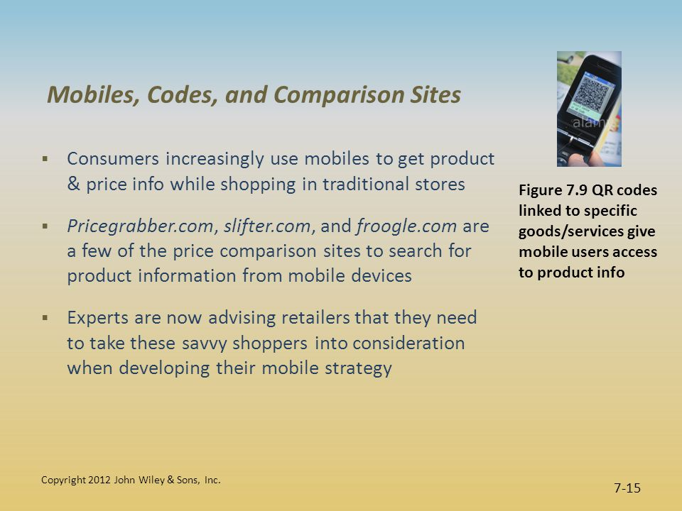 Mobiles, Codes, and Comparison Sites  Consumers increasingly use mobiles to get product & price info while shopping in traditional stores  Pricegrabber.com, slifter.com, and froogle.com are a few of the price comparison sites to search for product information from mobile devices  Experts are now advising retailers that they need to take these savvy shoppers into consideration when developing their mobile strategy Copyright 2012 John Wiley & Sons, Inc.