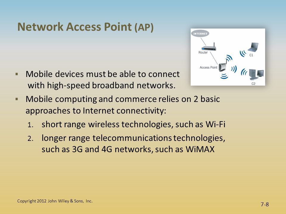 Network Access Point (AP)  Mobile devices must be able to connect with high-speed broadband networks.
