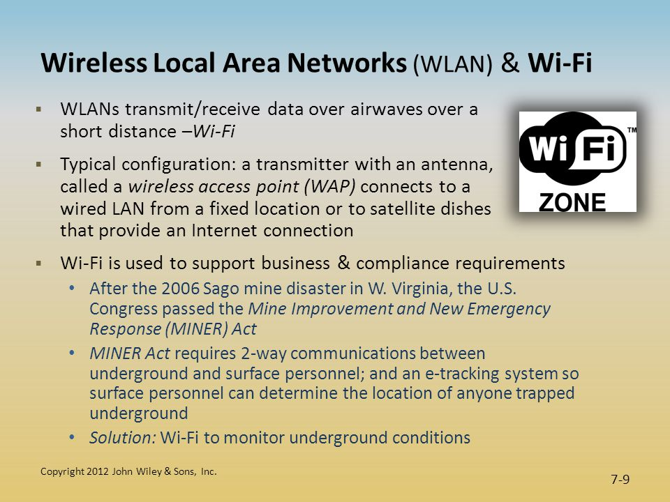 Wireless Local Area Networks (WLAN) & Wi-Fi  WLANs transmit/receive data over airwaves over a short distance –Wi-Fi  Typical configuration: a transmitter with an antenna, called a wireless access point (WAP) connects to a wired LAN from a fixed location or to satellite dishes that provide an Internet connection  Wi-Fi is used to support business & compliance requirements After the 2006 Sago mine disaster in W.