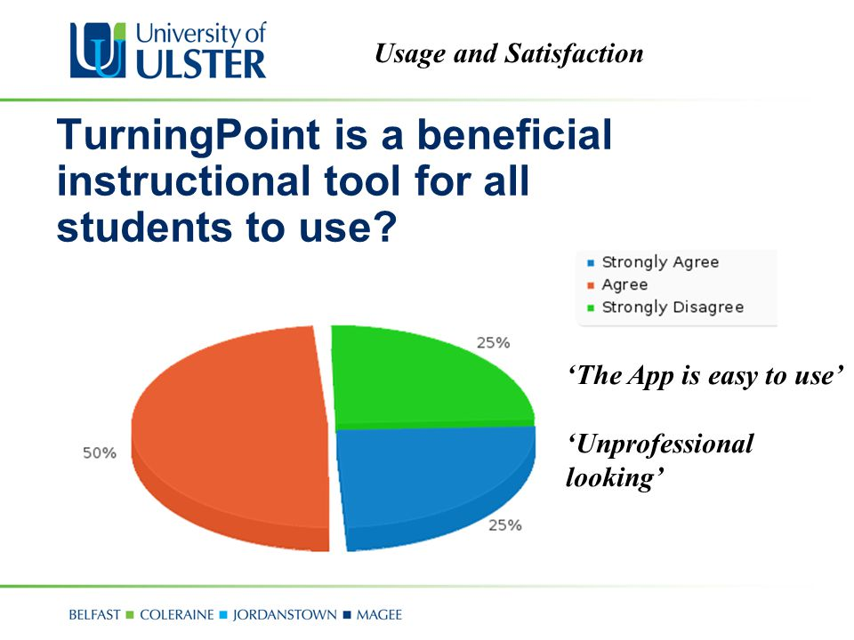 Usage and Satisfaction TurningPoint is a beneficial instructional tool for all students to use.