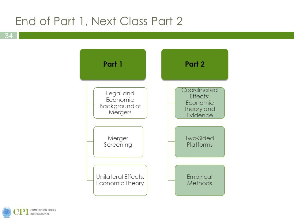 34 End of Part 1, Next Class Part 2 Part 1 Legal and Economic Background of Mergers Merger Screening Unilateral Effects: Economic Theory Part 2 Coordi