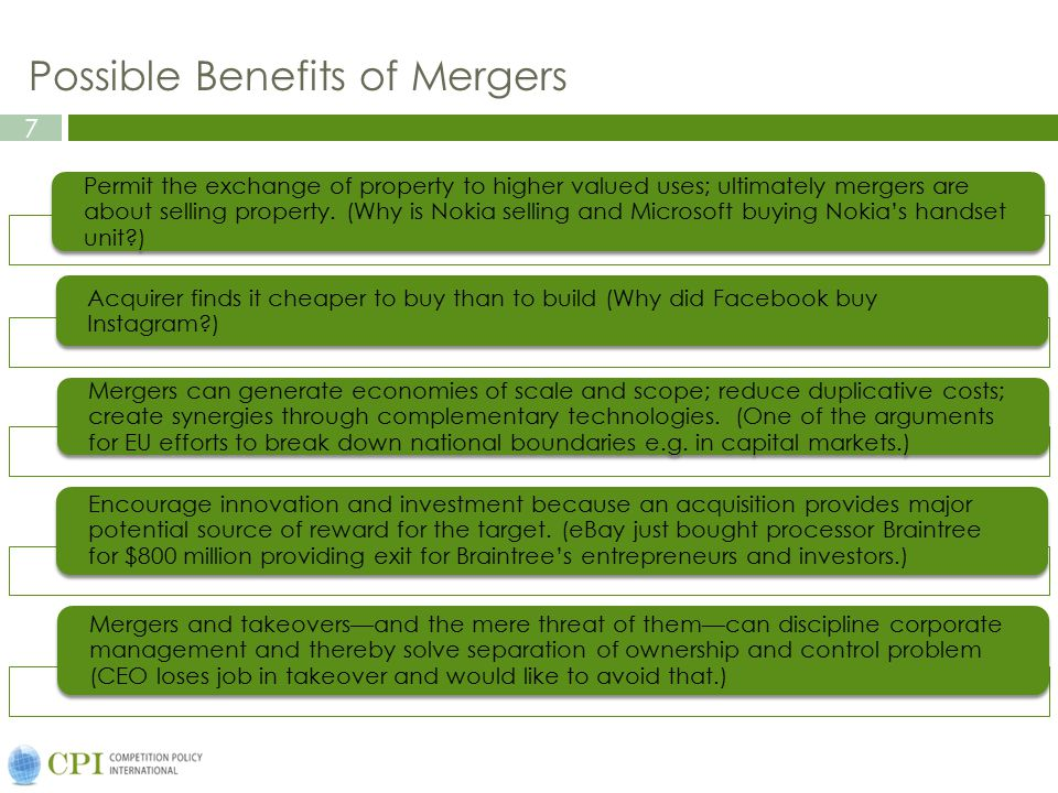 8 Possible Harm from Mergers Mergers could increase prices and reduce output through increased concentration.