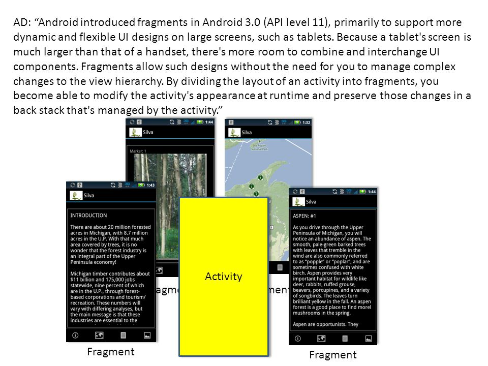 """AD: """"Android introduced fragments in Android 3.0 (API level 11), primarily to support more dynamic and flexible UI designs on large screens, such as t"""