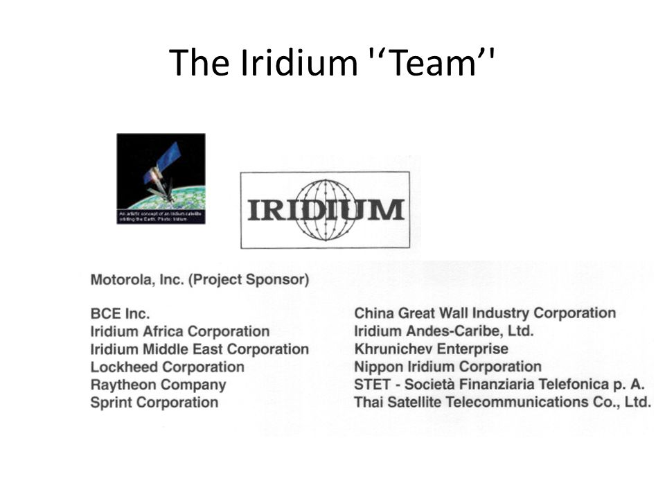 The Iridium 'Team'