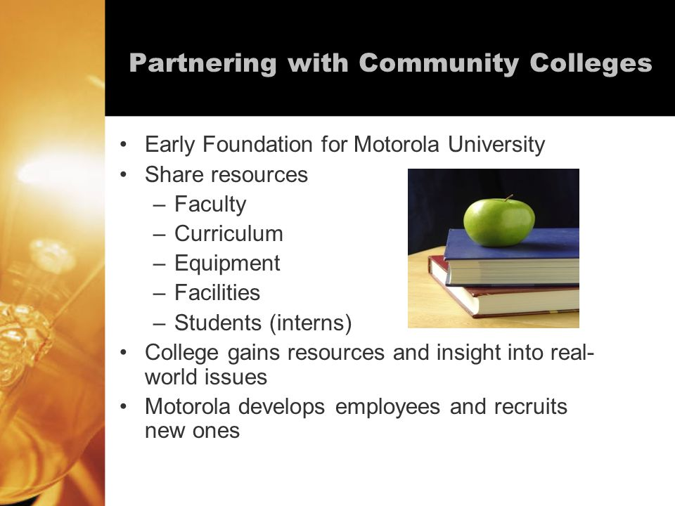 Partnering with Community Colleges Early Foundation for Motorola University Share resources –Faculty –Curriculum –Equipment –Facilities –Students (interns) College gains resources and insight into real- world issues Motorola develops employees and recruits new ones