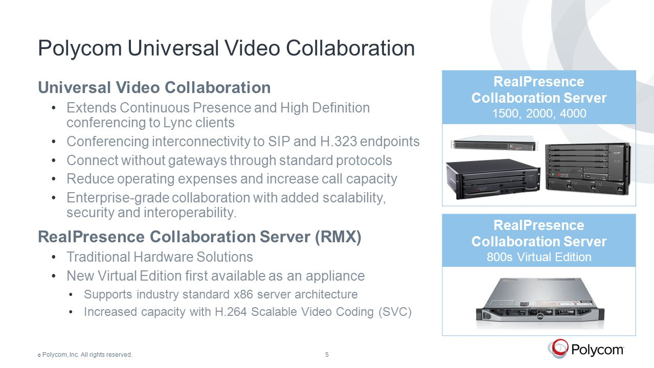 © Polycom, Inc. All rights reserved.5 RealPresence Collaboration Server 1500, 2000, 4000 Universal Video Collaboration Extends Continuous Presence and
