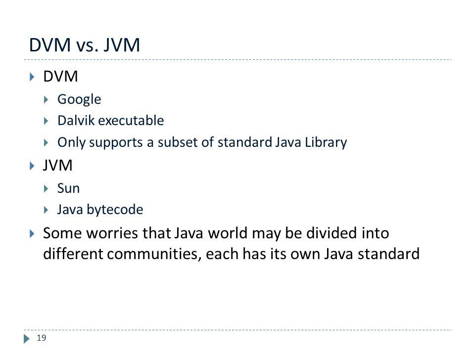 DVM vs. JVM 19  DVM  Google  Dalvik executable  Only supports a subset of standard Java Library  JVM  Sun  Java bytecode  Some worries that Ja