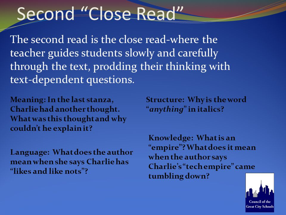 """Second """"Close Read"""" Language: What does the author mean when she says Charlie has """"likes and like nots""""? Meaning: In the last stanza, Charlie had anot"""