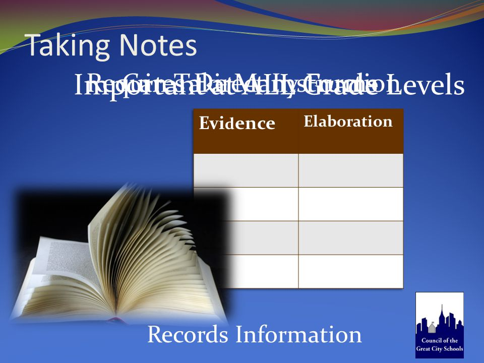 Taking Notes Records Information Important at ALL Grade Levels Can Take Many Forms Requires Direct Instruction