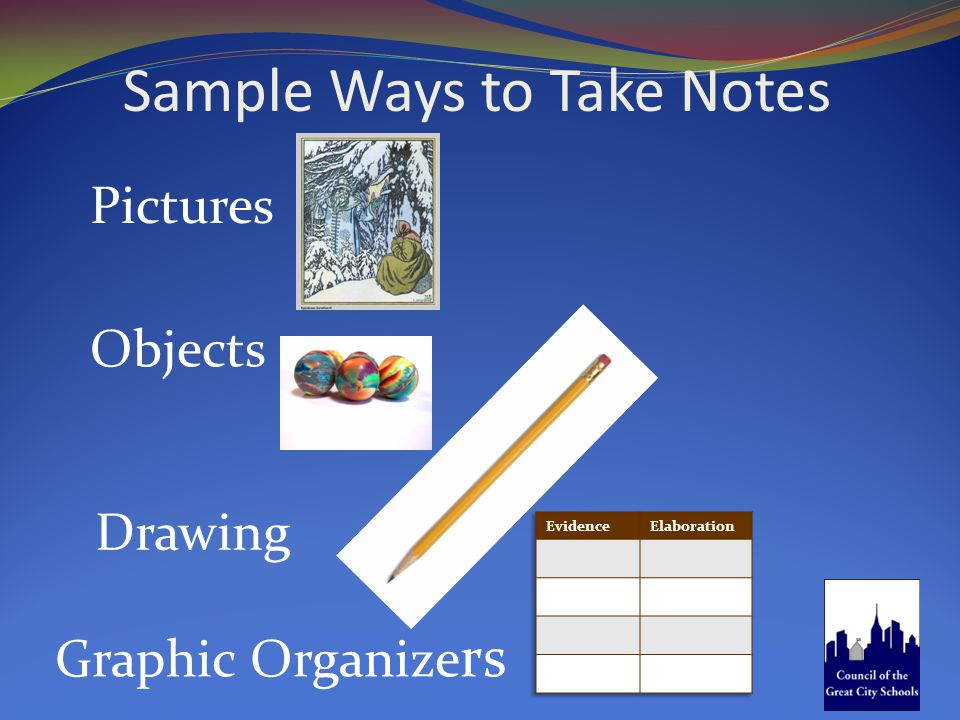 Sample Ways to Take Notes Pictures Objects Graphic Organize rs Drawing