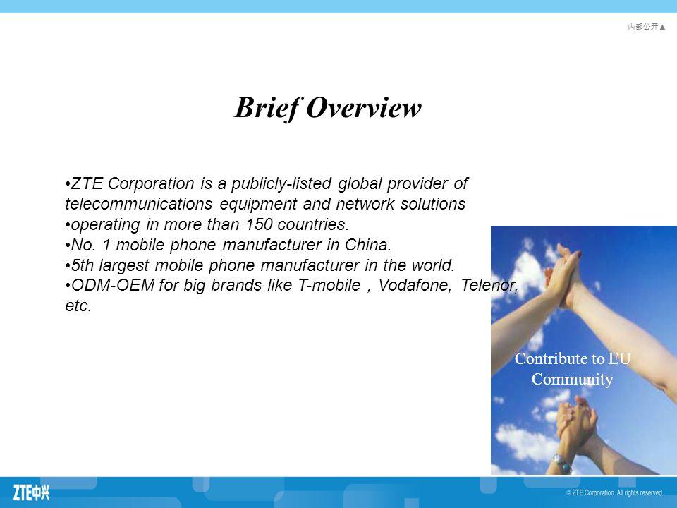 内部公开 ▲ Theme1 Theme2 Theme3 Theme4 中文标题 字体 : 黑体 字号: 32pt 色彩:蓝色 中文副标题 字体:华文细黑 字号: 28pt 色彩:黑色 子目录 (2-5 级 ) 字体:华文细黑 字号: 24-18pt 色彩:黑色 Brand Attributes of ZTE for retail customers: Innovative, Reliable, High Quality Top five mobile phone manufacturers in the world (IDC & Gartner) Brand Attributes for ZTE's smart terminals: Young, innovative, affordable, high quality Brand Attribution