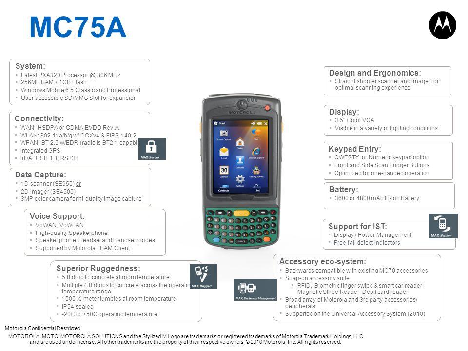 Motorola Confidential Restricted MOTOROLA, MOTO, MOTOROLA SOLUTIONS and the Stylized M Logo are trademarks or registered trademarks of Motorola Tradem