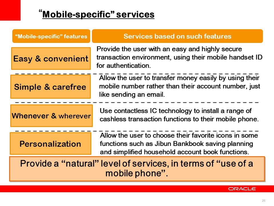 "26 "" Mobile-specific"" services ""Mobile-specific"" features Services based on such features Provide a ""natural"" level of services, in terms of ""use of a"