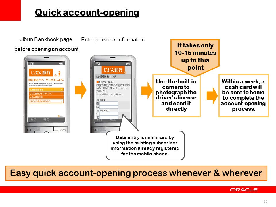 32 Jibun Bankbook page before opening an account Easy quick account-opening process whenever & wherever Enter personal information Use the built-in ca