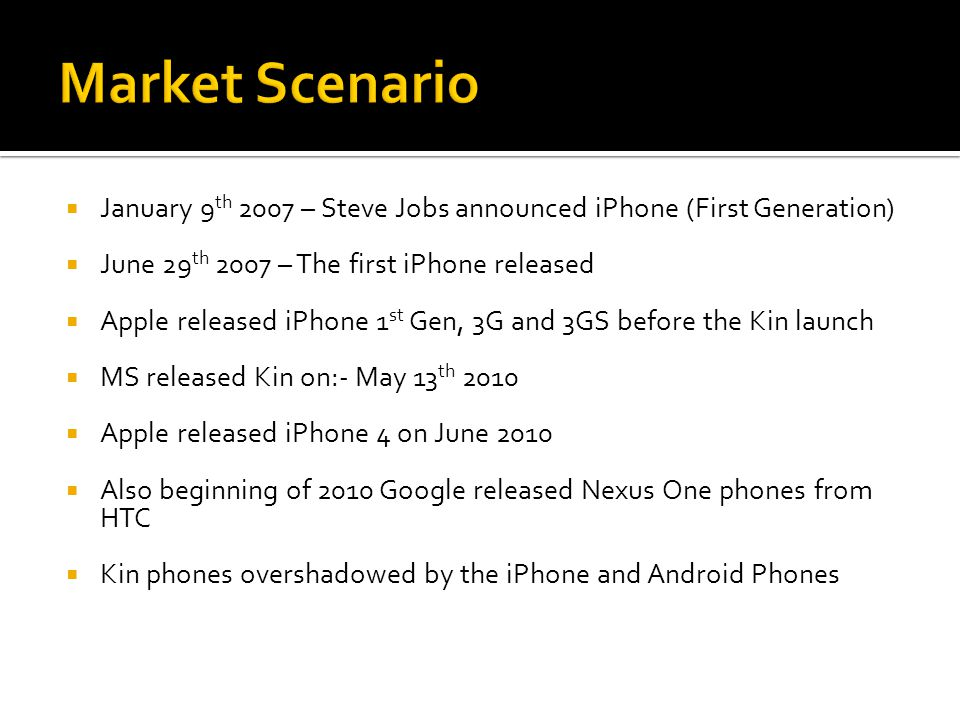  January 9 th 2007 – Steve Jobs announced iPhone (First Generation)  June 29 th 2007 – The first iPhone released  Apple released iPhone 1 st Gen, 3G and 3GS before the Kin launch  MS released Kin on:- May 13 th 2010  Apple released iPhone 4 on June 2010  Also beginning of 2010 Google released Nexus One phones from HTC  Kin phones overshadowed by the iPhone and Android Phones