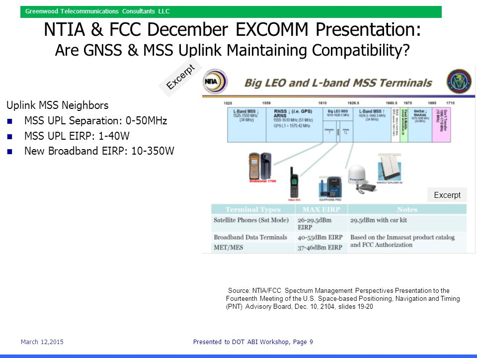 March 12,2015Presented to DOT ABI Workshop, Page 10 Greenwood Telecommunications Consultants LLC NTIA & FCC Quandary: GNSS & MSS Compatibility Source: NTIA/FCC Spectrum Management Perspectives Presentation to the Fourteenth Meeting of the U.S.