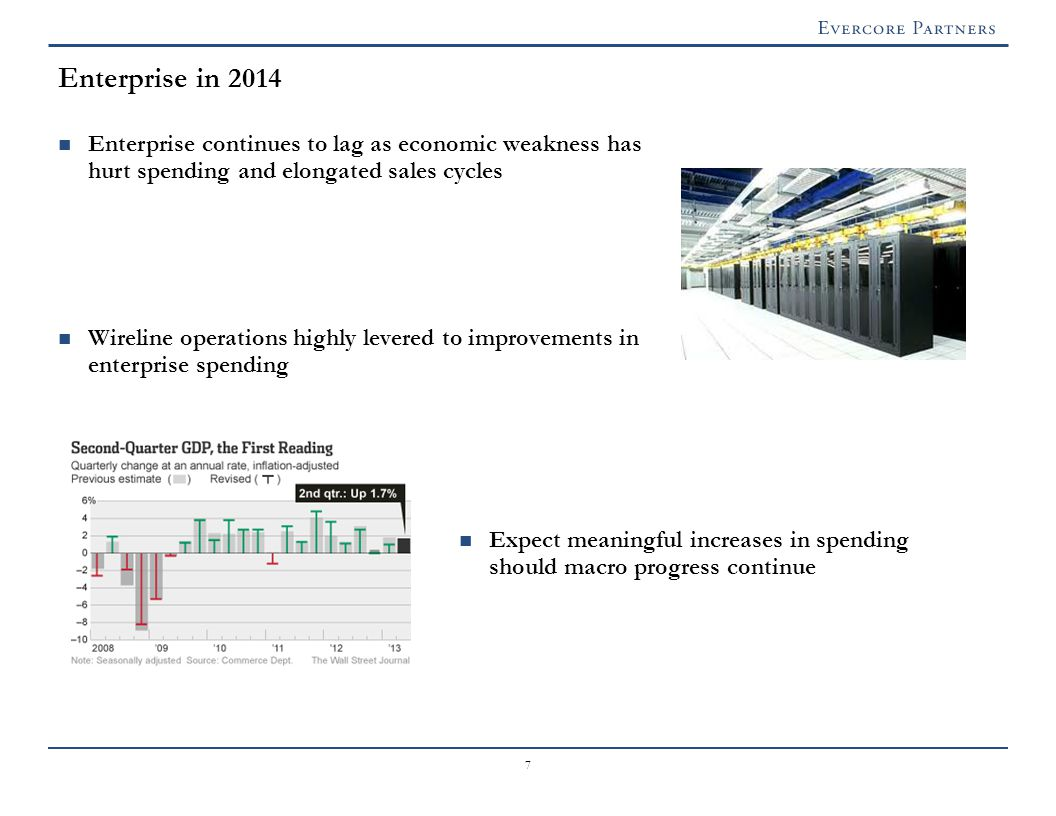 7 Enterprise in 2014 Enterprise continues to lag as economic weakness has hurt spending and elongated sales cycles Wireline operations highly levered to improvements in enterprise spending Expect meaningful increases in spending should macro progress continue