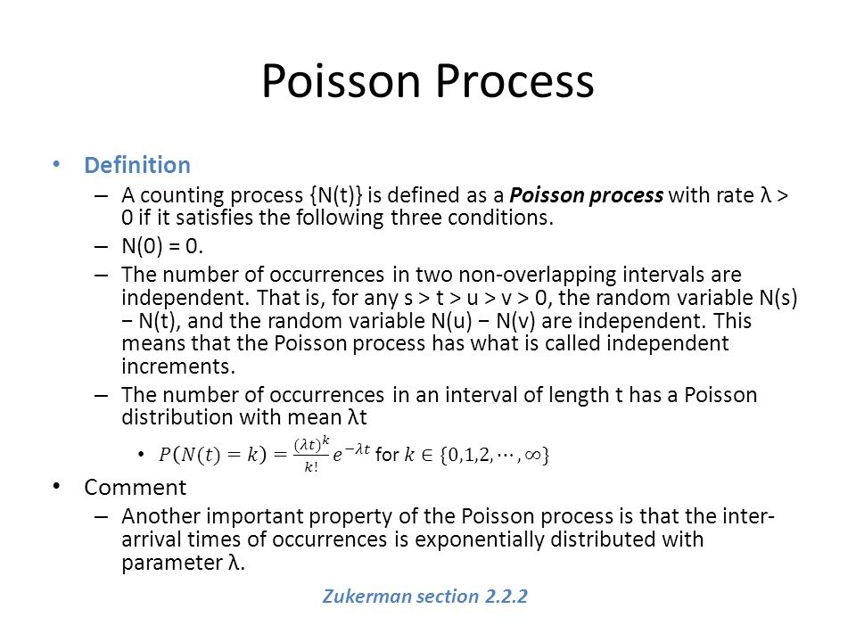 Poisson Process Zukerman section 2.2.2