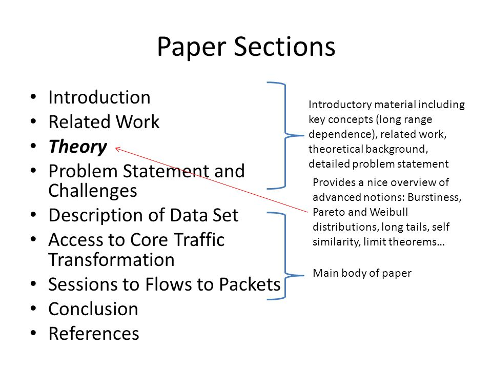 Paper Sections Introduction Related Work Theory Problem Statement and Challenges Description of Data Set Access to Core Traffic Transformation Sessions to Flows to Packets Conclusion References Introductory material including key concepts (long range dependence), related work, theoretical background, detailed problem statement Main body of paper Provides a nice overview of advanced notions: Burstiness, Pareto and Weibull distributions, long tails, self similarity, limit theorems…