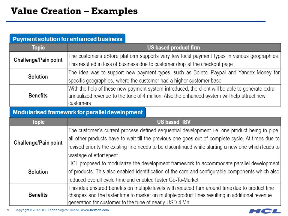 9 Copyright © 2012 HCL Technologies Limited | www.hcltech.com Value Creation – Examples 9 Payment solution for enhanced business TopicUS based product
