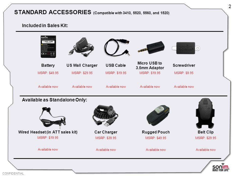 CONFIDENTIAL STANDARD ACCESSORIES (Compatible with 3410, 5520, 5560, and 1520) 2 BatteryUS Wall ChargerUSB Cable Micro USB to 3.5mm Adaptor Screwdriver MSRP: $49.95MSRP: $29.95MSRP: $19.95 MSRP: $9.95 Available now Included in Sales Kit: Available as Standalone Only: Wired Headset (in ATT sales kit) Car ChargerRugged PouchBelt Clip MSRP: $19.95 MSRP: $39.95MSRP: $49.95MSRP: $29.95 Available now