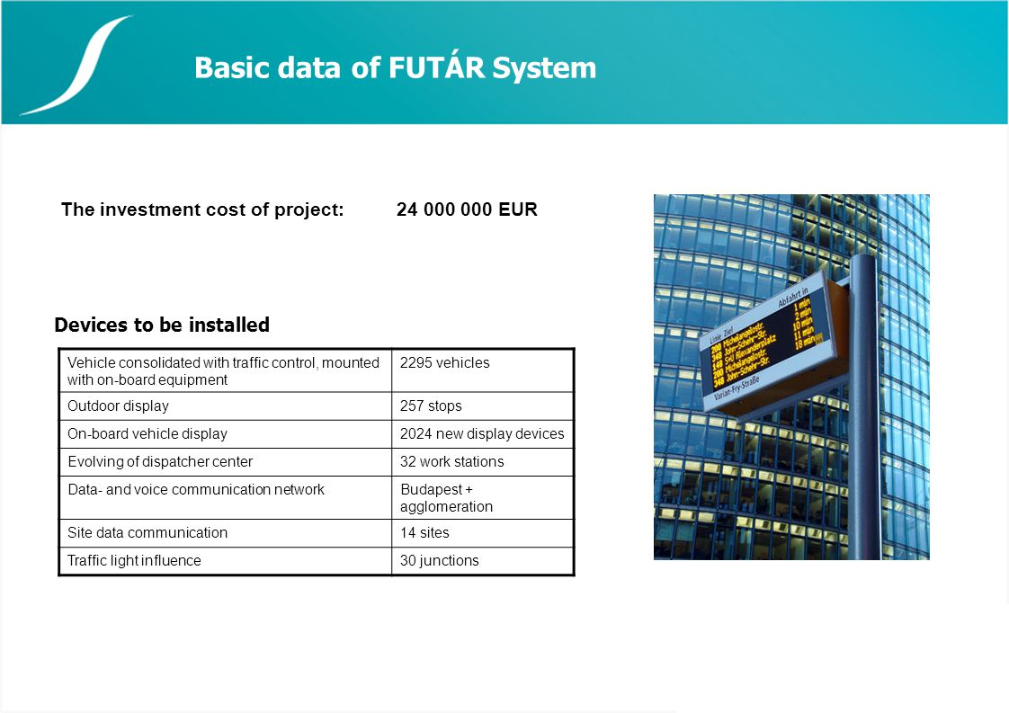 Basic data of FUTÁR System Devices to be installed The investment cost of project:24 000 000 EUR Vehicle consolidated with traffic control, mounted with on-board equipment 2295 vehicles Outdoor display257 stops On-board vehicle display2024 new display devices Evolving of dispatcher center32 work stations Data- and voice communication networkBudapest + agglomeration Site data communication14 sites Traffic light influence30 junctions