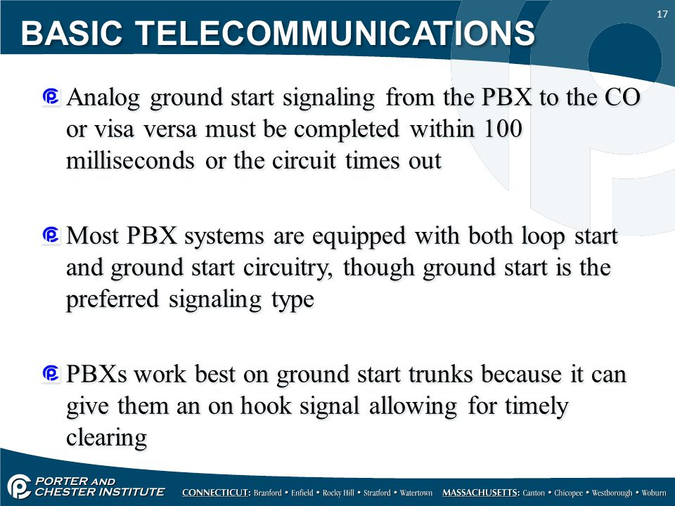 17 Analog ground start signaling from the PBX to the CO or visa versa must be completed within 100 milliseconds or the circuit times out Most PBX syst