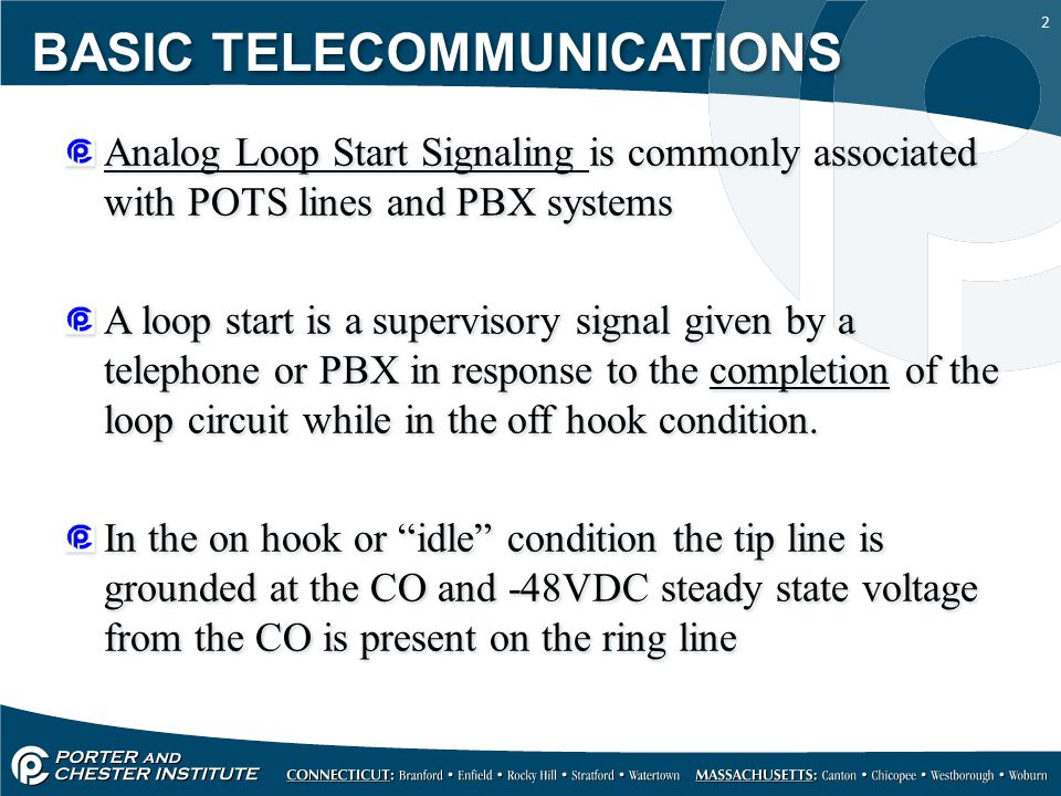 13 Analog Ground Start Signaling or GST (Ground Start Trunk) is typically associated with pay phones and PBX systems.