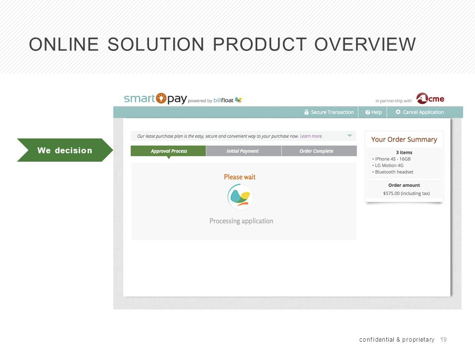 19 confidential & proprietary We decision ONLINE SOLUTION PRODUCT OVERVIEW