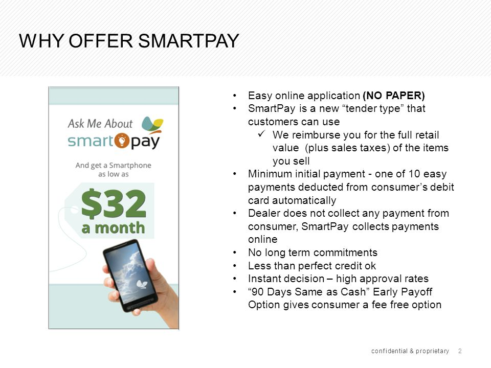 23 IN STORE SMARTPAY APPLICATION PROCESS (CONT.) confidential & proprietary