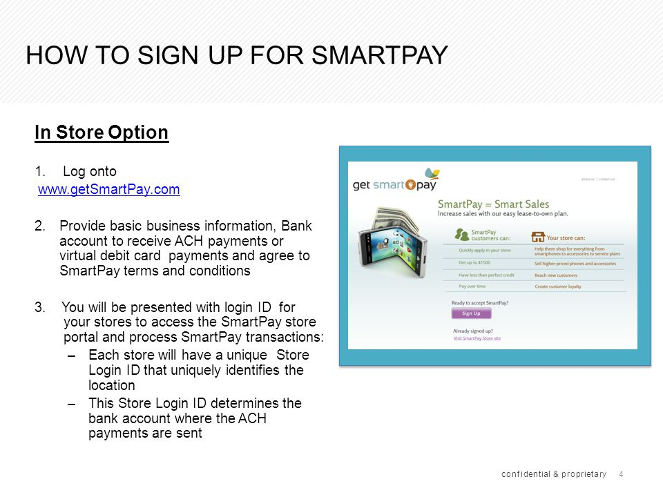 25 IN STORE SMARTPAY APPLICATION PROCESS(CONT.) confidential & proprietary