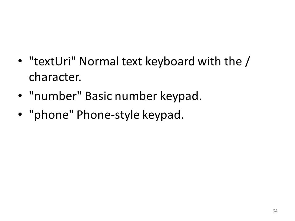 textUri Normal text keyboard with the / character.