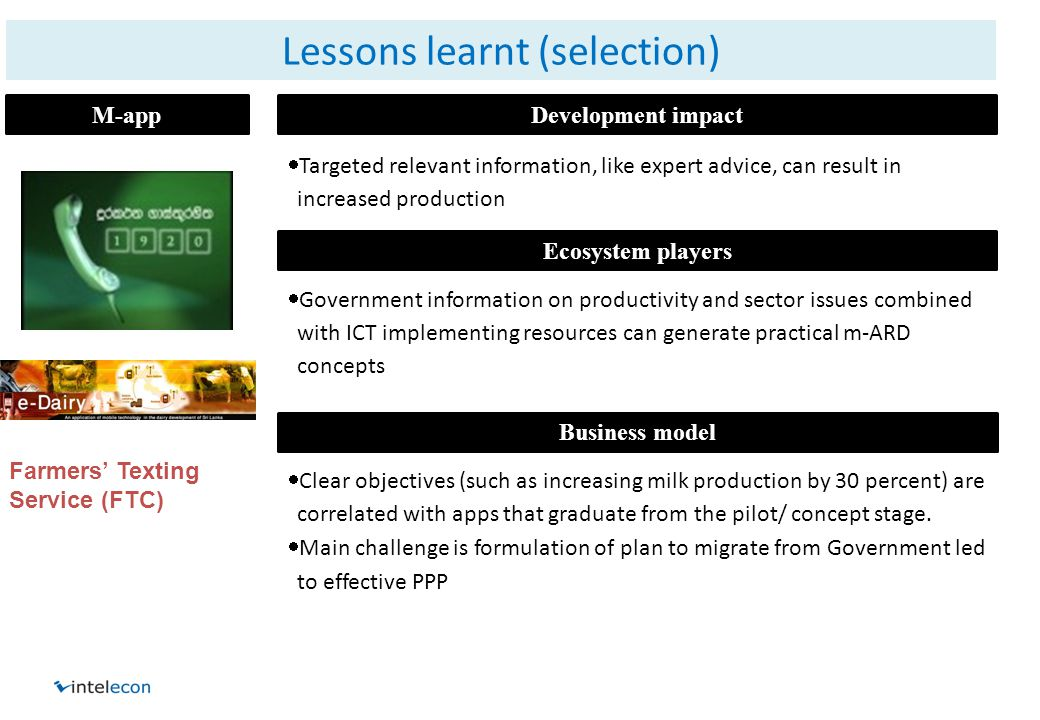 Lessons learnt (selection) M-appDevelopment impact Business model Ecosystem players  Targeted relevant information, like expert advice, can result in