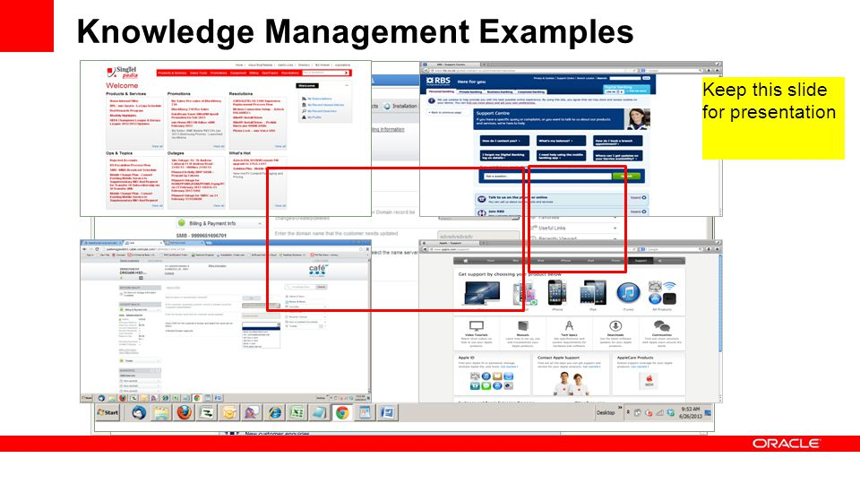 Knowledge Management Examples Keep this slide for presentation