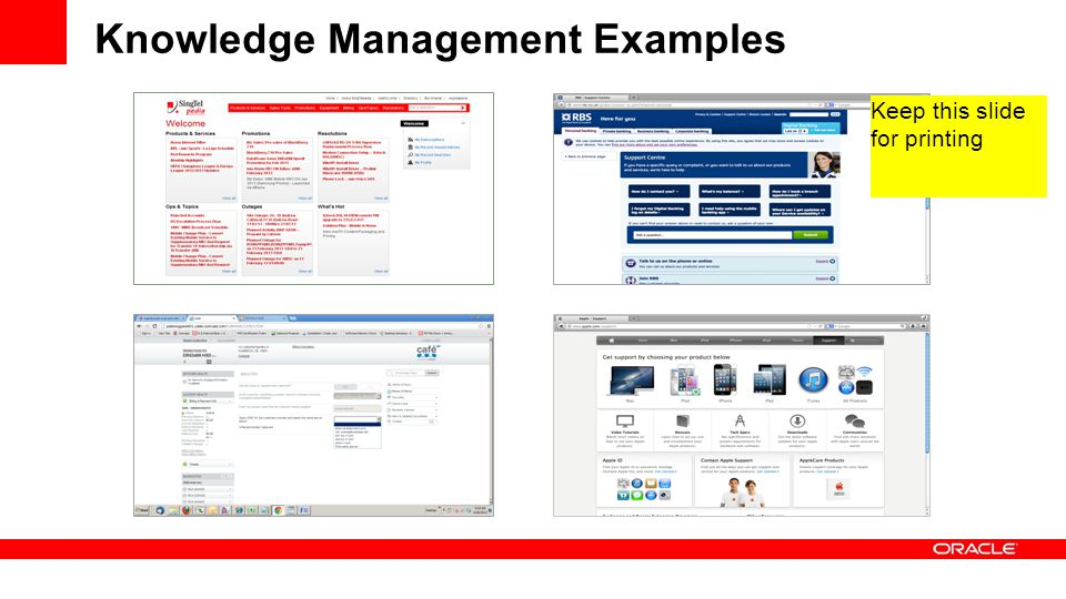 Knowledge Management Examples Keep this slide for printing