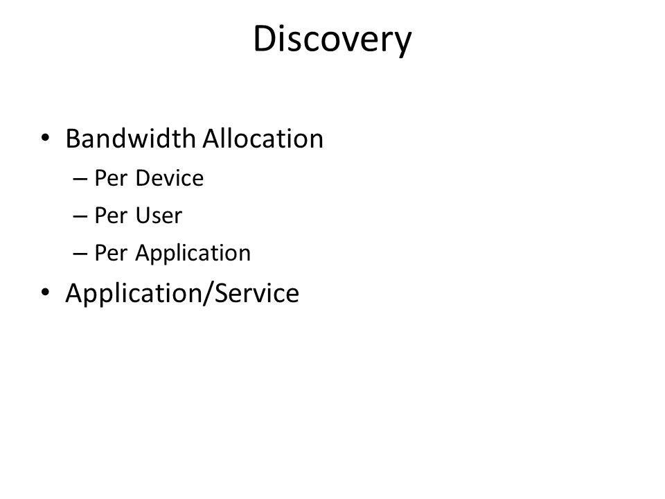 Discovery Bandwidth Allocation – Per Device – Per User – Per Application Application/Service