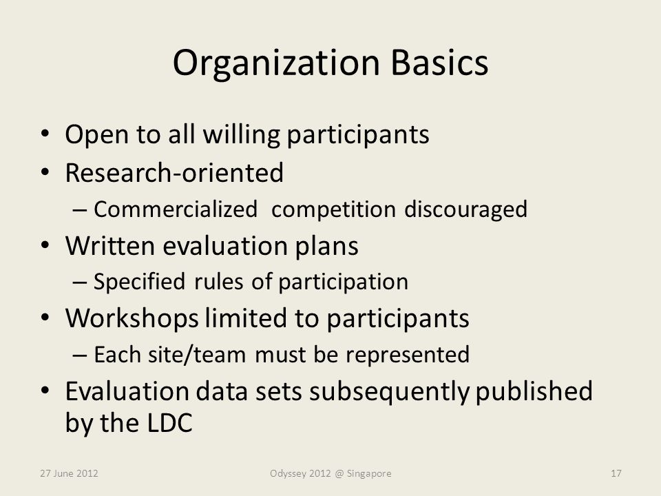 Organization Basics Open to all willing participants Research-oriented – Commercialized competition discouraged Written evaluation plans – Specified r