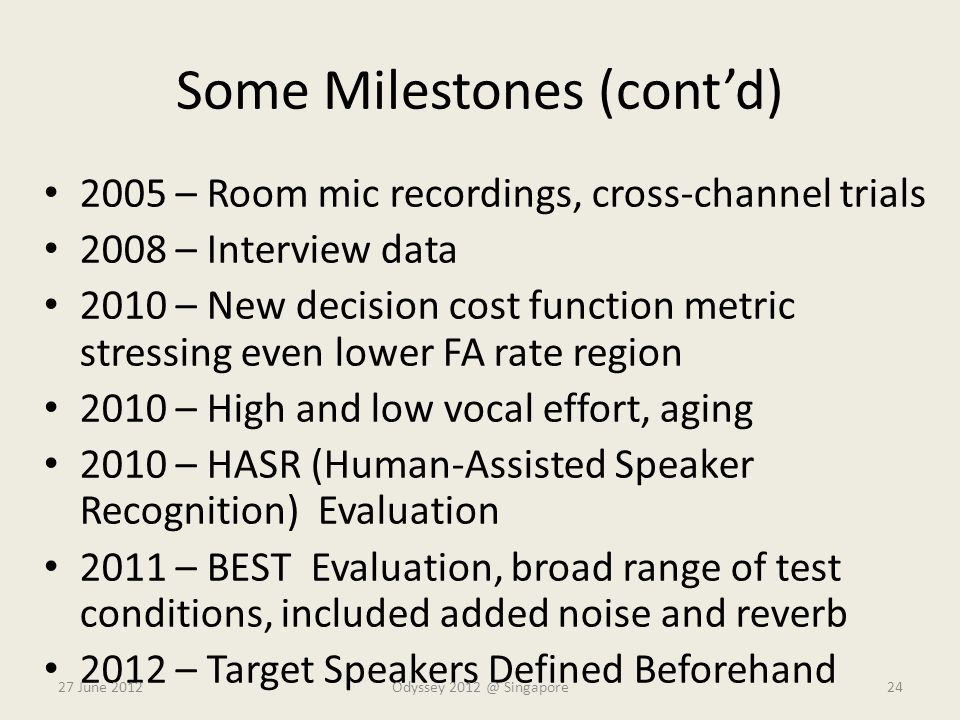Some Milestones (cont'd) 2005 – Room mic recordings, cross-channel trials 2008 – Interview data 2010 – New decision cost function metric stressing eve