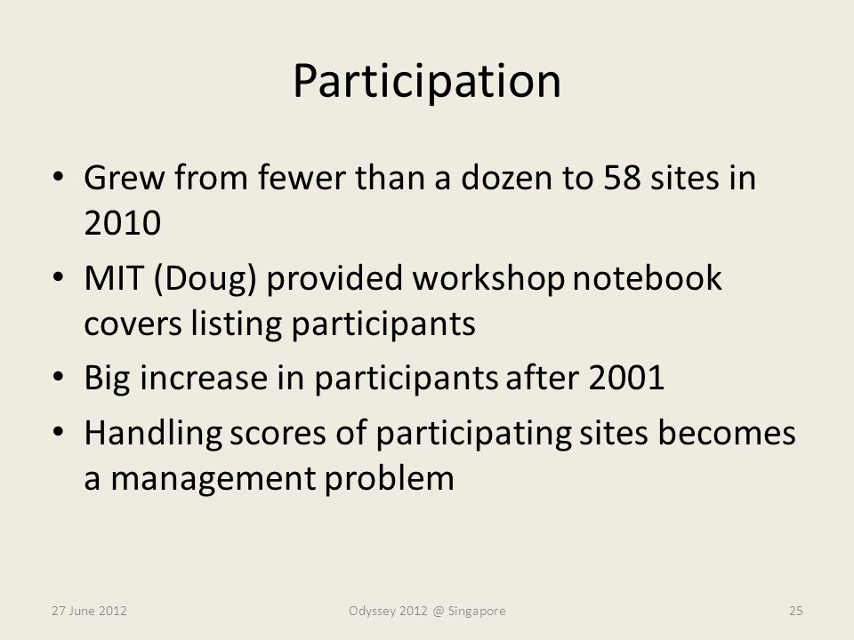 Participation Grew from fewer than a dozen to 58 sites in 2010 MIT (Doug) provided workshop notebook covers listing participants Big increase in parti