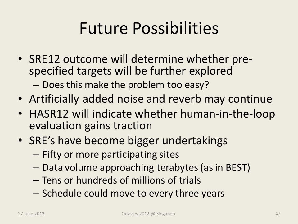 Future Possibilities SRE12 outcome will determine whether pre- specified targets will be further explored – Does this make the problem too easy? Artif